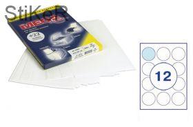 73581 Этикетки самоклеящиеся MEGA LABEL d=60 мм / 12 шт. на листе А 4 (100 листов в пачке)